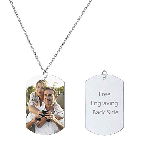 Custom Photo Necklace Free Text Engraving Back Side Personalized Dog Tags Pendant Portrait Image Jewelry 925 Sterling Silver Gift for Boyfriend Pendant with Chain 22 Inch]()