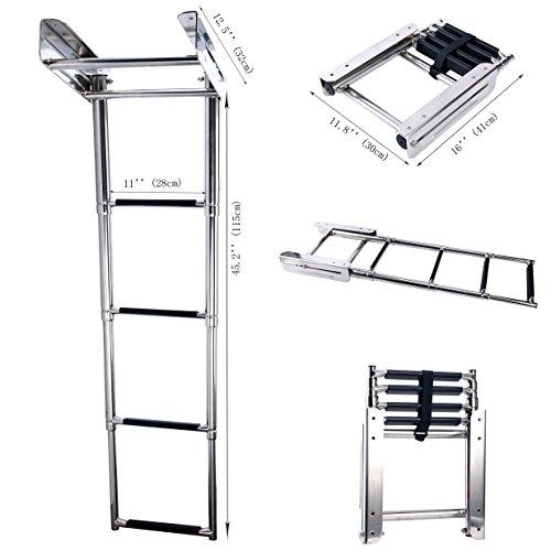 Amarine-made 4-step Stainless Steel Under Platform Slide Mount Boat Boarding Telescoping Ladder - (Under Platform Ladder)