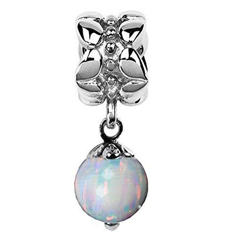 Jovana Sterling Silver October Birthstone Dangle Bead Charm Lab Opal, Fit Pandora Bracelet