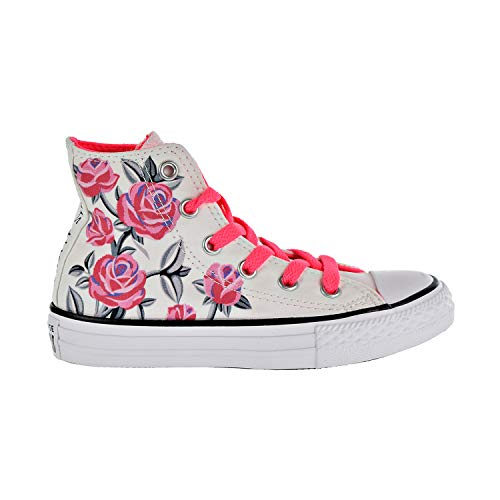 (Converse Girls Kids' Chuck Taylor All Star Graphic High Top Sneaker, White/Racer Pink/Black 5.5 M US)