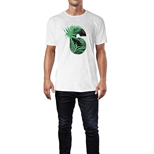 SINUS ART® Nummer Sechs mit tropischen Blättern Herren T-Shirts in Weiss Fun Shirt mit tollen Aufdruck