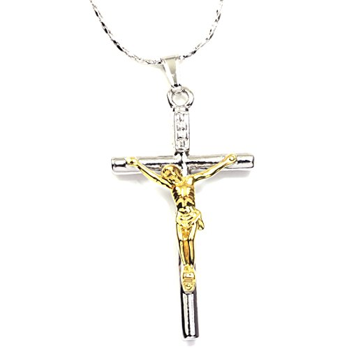(FC JORY White Yellow Gold 2 Tone Plated Cross Jesus Christ Crucifix Cross Pendant Chain Necklace (Silver & Gold))