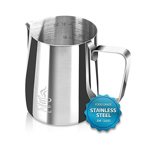 Milk Frothing Pitcher Stainless Steel 304, 12 oz/20oz (350ml/600ml) Espresso Steaming Pitcher with Tick Mark | Decorating Art Pen | 16PCS Coffee Decorating Stencils for Cappuccino y Latte, by FlamGen