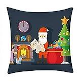Pgojuni_Pillowcases Merry Christmas Year Pillow Case Polyester Sofa Car Cushion Cover Home Decor Cover Pillow Case1pc (45cm X 45cm) (D)