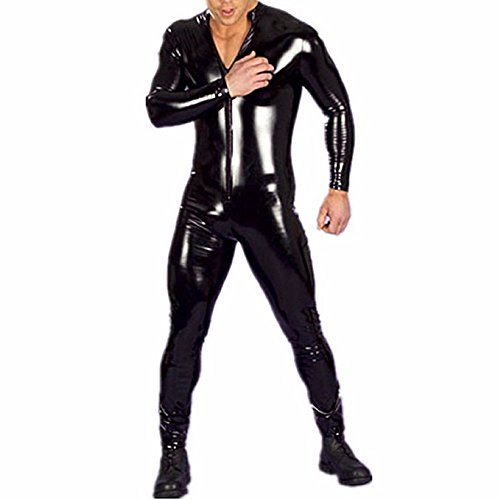 - 41qh9Bf42nL - FEESHOW Men's Wet Look PVC Leather Like Zipper Catsuit Jumpsuit Costumes