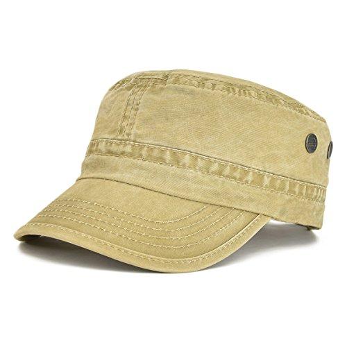 VOBOOM Washed Cotton Military Caps Cadet Army Caps Unique Design (Khaki)