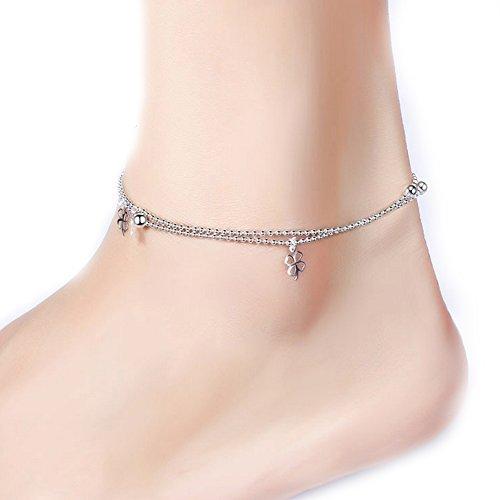 Trèfle Argent  Anklets Femelle Étoile Cœur Double Perles Cloches Papillon