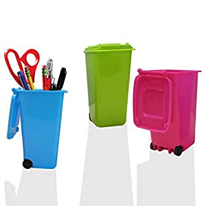 Mini Wheelie Trash Can Storage Bin Desktop Organizer Pen/Pencil Cup, 3pcs Creative Dust Bin School Supplies Holder- (Green, Blue, and Pink Colors) By Mega Stationers