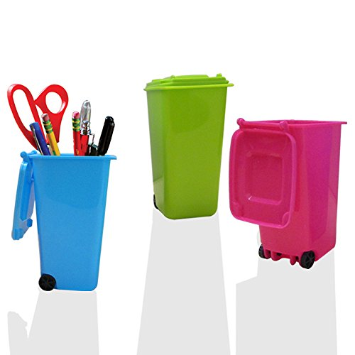 Mini Wheelie Trash Can Storage Bin Desktop Organizer Pen/Pencil Cup, 3pcs Creative Dust Bin School Supplies Holder- (Green, Blue, and Pink Colors) By Mega Stationers (Toy Trash Can compare prices)