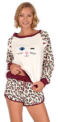 Body Candy Loungewear Short Set (Kitten w Leopard Print, Medium)