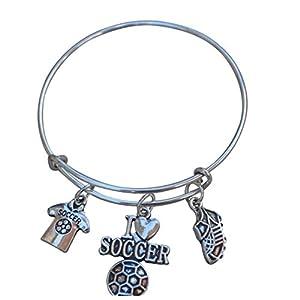 Soccer Bracelet, Soccer Jewelry, Girls Soccer Bangle Bracelet- Soccer Charm Bracelet Perfect Soccer Gifts for Girls