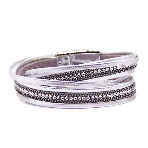 KSQS Boho Multilayer Leather Wrap Bracelets Gorgeous Handmade Braided Wrap Cuff Magnetic Buckle Casual Bangle for Women&Girl - Leather Silver Bangle