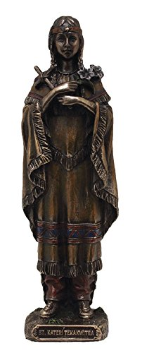 (GSV001 A Veronese St. Kateri Tekakwitha statue in lightly hand-painted cold cast bronze, 5.5inches.)