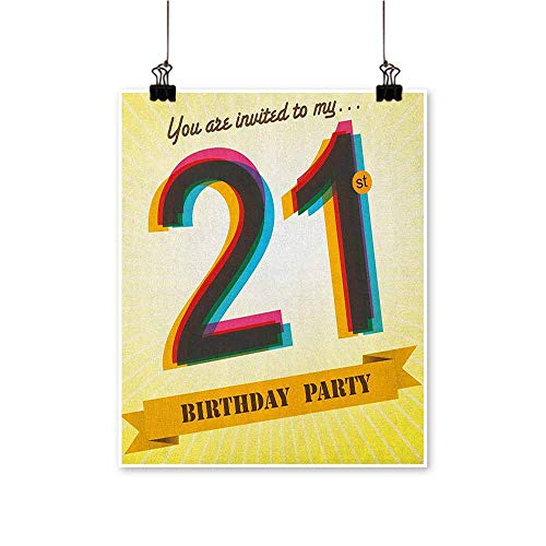 HouseDecor 21st Birthday,Wall Art Pictures Frameless Invitation to an Amazing Birthday Party on a Golden Colored Backdrop Image W16 xL24 Canvas Print Panels]()