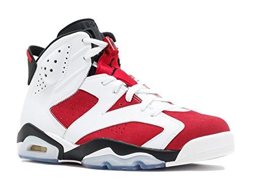 Jordan Air Retro 6 Men's Shoes White/Carmine-Black 384664-160 (9.5 D(M) US) (Air Jordan Vi 6 Retro Carmine 2014)