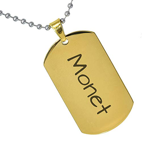 Tungsten King Stainless Steel Baby Name Monet Engraved Gold Plated Gifts for Son Daughter Parent Friends Significant Other Initial Quote Customizable Pendant Necklace Dog Tags 24'' Ball Chain ()
