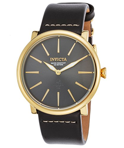 Invicta Men's 'I-Force' Quartz Stainless Steel and Leather Casual Watch, Color:Black (Model: 22933)