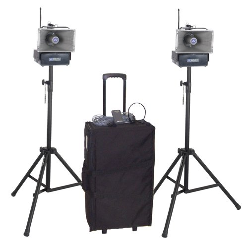 AmpliVox SW642 Deluxe Half-Mile Hailer Kit with Wireless Powered Speakers (Half Mile Hailer Kit)