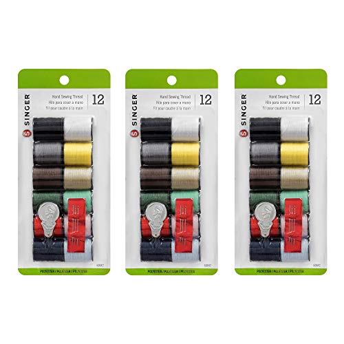 Singer Polyester Hand Sewing Thread, Assorted Colors, 12 Count (3-Pack)