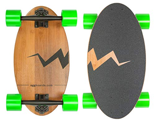 Eggboards Mini Longboard The Original – Bamboo Wood Cruiser Skateboard for Adults and Kids. Easy to Carry, Smooth to…