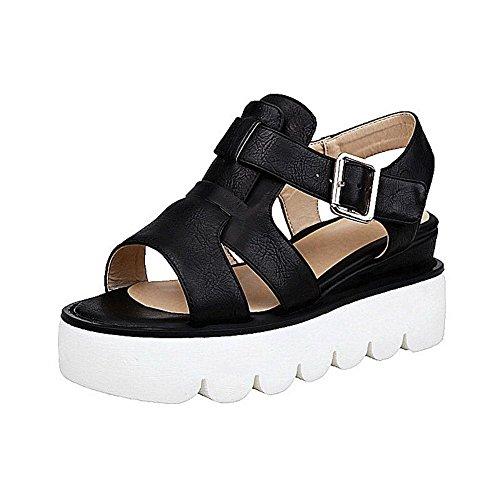AllhqFashion Women's Solid PU Buckle Kitten-Heels Open Toe Sandals Black QXd2k