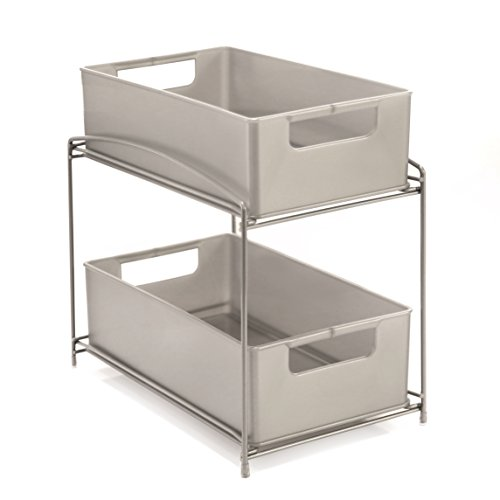 Cabinet The Under Counter Storage (Seville Classics 2-Tier Pull-Out Sliding Drawer Kitchen Counter Organizer, Satin Pewter)
