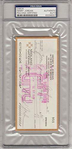 Henry Jordan Autographed Signed Auto Autograph Check PSA/DNA Hof Certified Packers April '75