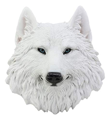 Ebros Ghost Albino Arctic Snow White Wolf Head Wall Decor Plaque 8.5