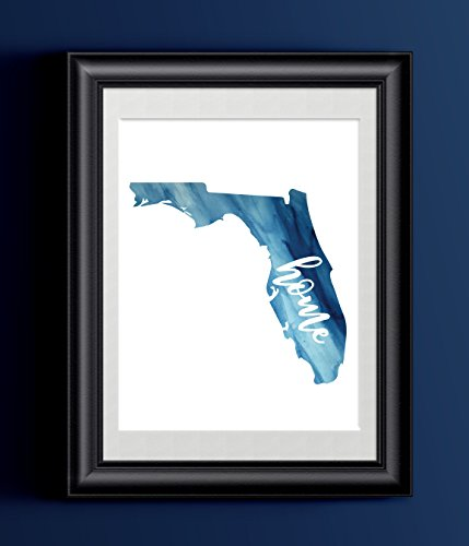 Florida Home Watercolor Print | State Home Poster | Wall Decor
