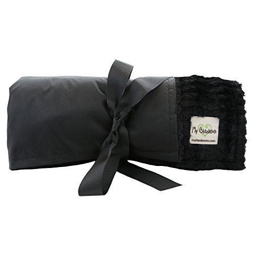 My Blankee Extra Large Picnic & Outdoor Blanket Warm and Soft Luxe Stipe with Waterproof Backing, Black, 59'' X 85'' by My Blankee