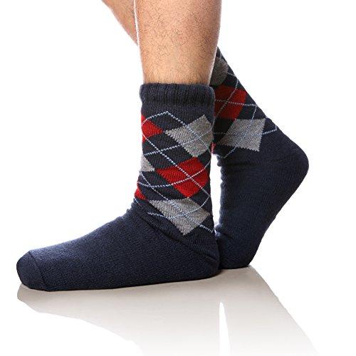WENER Mens Fleece-Lined Cozy Thick Winter Non-Slip Slipper Socks (Blue Check)