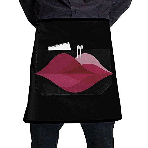 Hot Sex Lady Red Lip Waist Aprons With 2 Pockets Restaurant Waitress Waiter Half Bistro Apron Black by JUNNI Apron