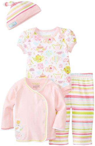 - Happi By Dena Baby Girls' Newborn Teapot 4 Pc Set, Rose Shadow, 3-6 Months, 6-9
