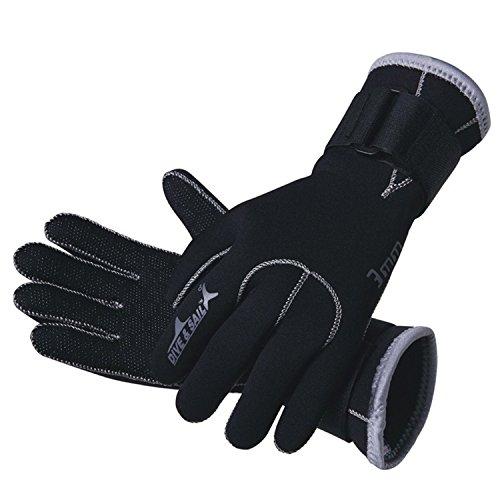 DIVE & SAIL Wetsuits Premium 3mm Neoprene Gloves, Black, Large