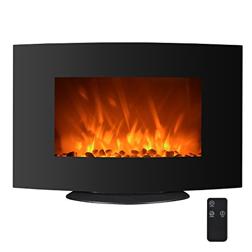 750W/1500W Electric Fireplace 2-in-1 35 Adjustable Color Curve Wall Mount