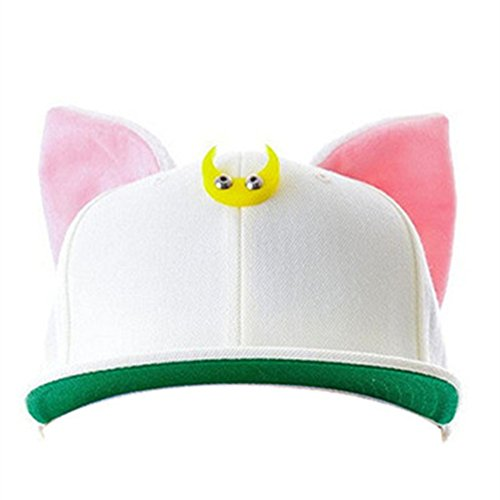 MIUNIKO Anime Sailor Moon Luna Cat Ears Hip-hop Hat Adjustable Baseball Cap Cosplay Accessories (White) ()