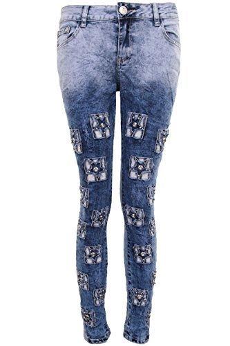 dff976cfc605 Fantasia Boutique pour Femmes délavé Bleu Jeans Clair Diamant étoile  déchiré délavé Jeans Moulant Coupe Skinny