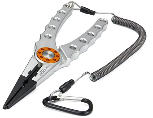 Booms Fishing X1 Aluminum Fishing Pliers Resistant Saltwater for Cutting Braid Line and Remove Hooks or Lure with Coiled Lanyard and Belt Holder Sheath Silver BOOMS SPORTS & OUTDOORS INC Gear And Accessories