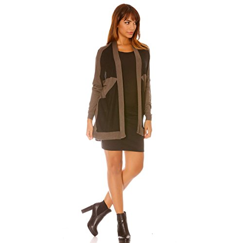 Miss Wear Line Gilet fin mi-long marron et noir