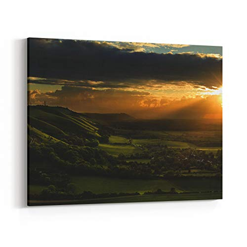 Rosenberry Rooms Canvas Wall Art Prints - Landscape Over English Countryside Landscape in Summer Sunset (36 x 24 inches)