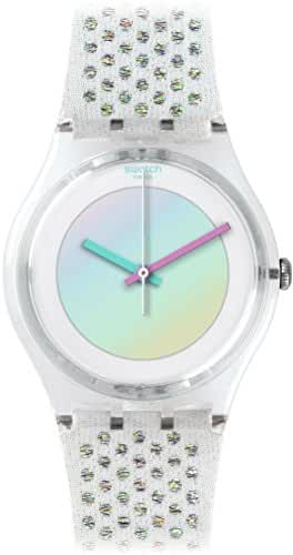 Swatch Girl's Gent GE246 Clear Suede Swiss Quartz Watch