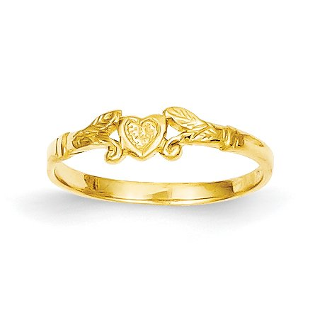 Ring Baby Gold - Qgold Baby and Children 14K Gold Heart Ring (Yellow-Gold)