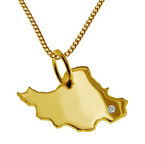 Endroit Exclusif Iran Carte Pendentif avec brillant à votre Désir (Position au choix.)-avec Chaîne-massif Or jaune de 585or, artisanat Allemande-585de bijoux