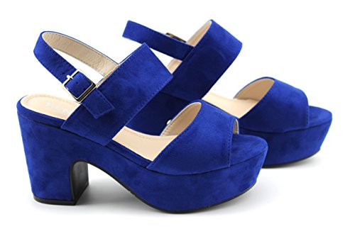 Modelisa - Sandalia Tacon Ancho Mujer Azul