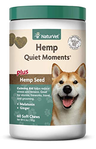 NaturVet - Hemp Quiet Moments Calming Aid for Dogs - Plus Hemp Seed - Helps Reduce Stress & Promote Relaxation - Great for Storms, Fireworks, Separation, Travel & Grooming - 60 Soft Chews