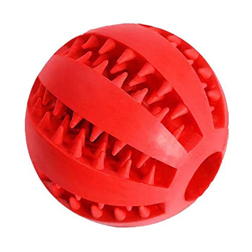 (CONstRschh Dog Toy Ball, Nontoxic Bite Resistant Toy Ball for Pet Dogs Puppy Cat, Dog Pet Food Treat Feeder Chew Tooth Cleaning Ball for Pet Tooth Cleaning/Chewing/Playing Red)
