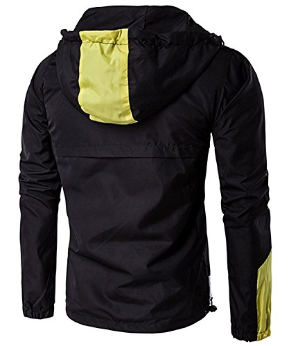 B dressy Handsome Mens Casual Camouflage Jacket With Hooded Waterproof Sport Outdoor Coat Black 3Medium
