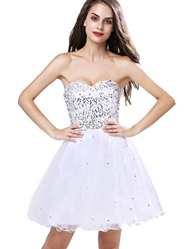 Clearbridal Women's White Sparkly Homecoming Dresses 2018 Prom Gowns CSD032 US4 ()