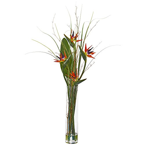 Nearly Natural 1601 Bird of Paradise and Greens Artificial Silk Arrangements Red