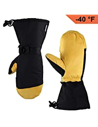 OZERO Winter Ski Mittens Cold Proof Work Gloves for Men and Women with Thermal 3M Thinsulate Insulation and 5-inch Long Sleeve - Water-Resistant and Windproof for Skiing/Snowmobile/Shoveling Snow
